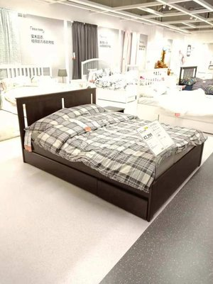 Harbor聚美 馬爾姆高床架帶2個儲物盒白橡木貼面宜家單人床