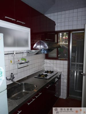 【雅格廚櫃】工廠直營~一字型廚櫃、流理台、廚具、結晶鋼烤、櫻花二機