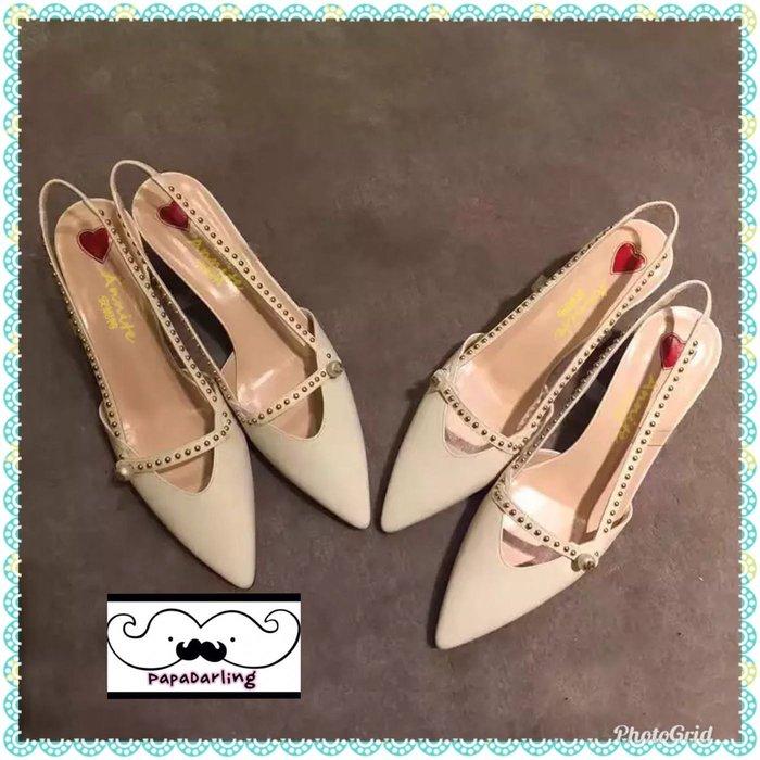 PapaDarling 19SS 歐美時尚潮流尖頭珍珠復古竹結跟 中跟涼鞋