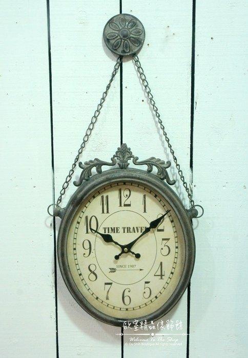 ~*歐室精品傢飾館*~美式鄉村 Zakka雜貨 鐵製 仿舊 浮雕 造型 鐵灰 掛鐘 時鐘 牆面 裝飾 壁飾~新款上市~