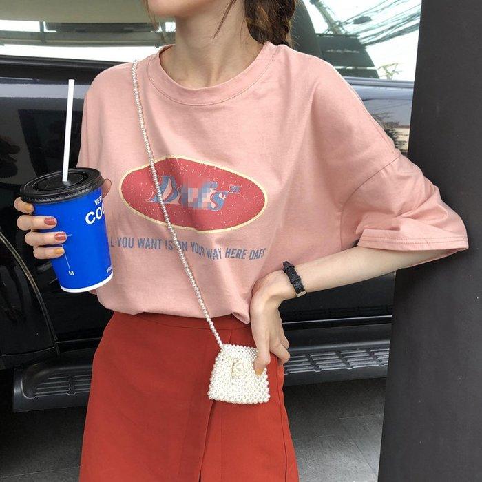 夏季女裝短袖T恤 烏77少女又酷帥的粉色T恤 韓版寬松顯瘦跳色圖案印花字母短袖tee