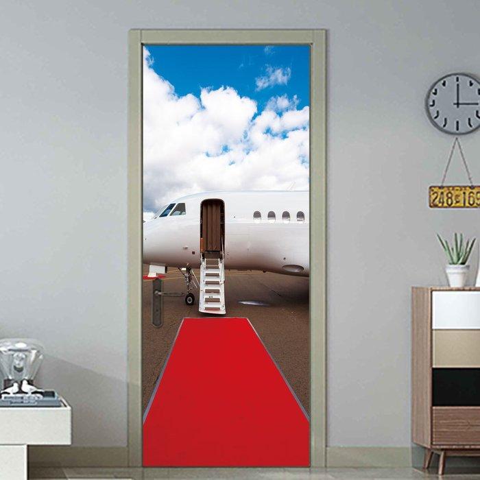暖暖本舖 私人飛機紅毯門貼 創意裝飾貼 房間門貼 書櫃壁貼紙 大門造景貼 防水門貼 裝潢貼紙 玄關貼 風景貼 可訂製尺寸