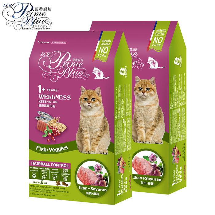 超值2入-【LCB藍帶廚坊】WELLNESS貓糧 成貓 全齡貓(化毛配方6kg)