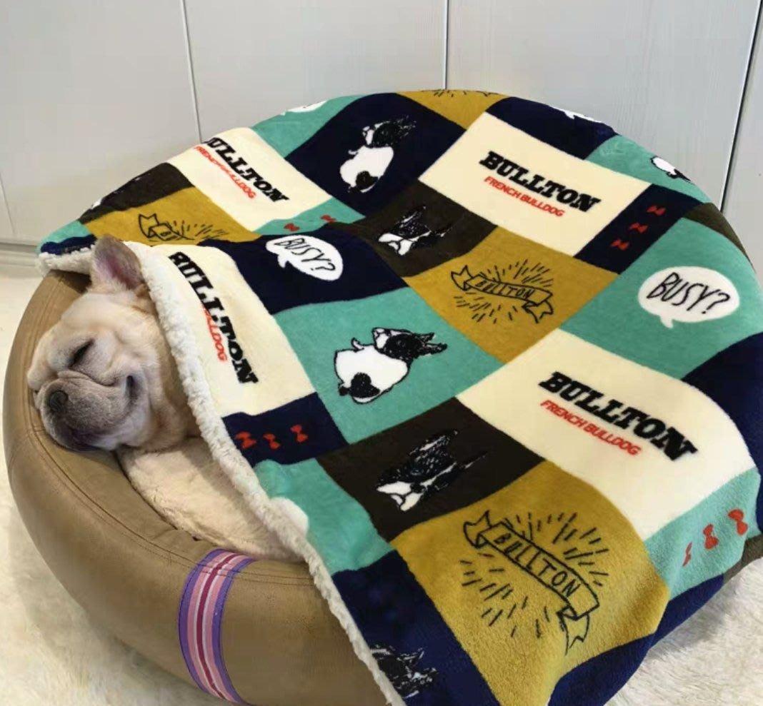 【喬喬本舖】秋冬法國鬥牛犬圖案毛毯 狗狗毛毯 貓咪睡墊 寵物冬天被子 沙發墊毯子 加絨