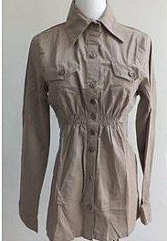 Casual Wear 修腰顯瘦 可反摺 袖長  長版 長袖襯衫(薄)/ 外套 -多穿搭-深卡其 -F(S~L)-新
