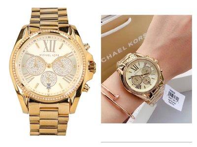 MICHAEL KORS女士手錶BRADSHAW PAVE金色不鏽鋼錶帶 石英多功能三眼計時腕錶MK6538
