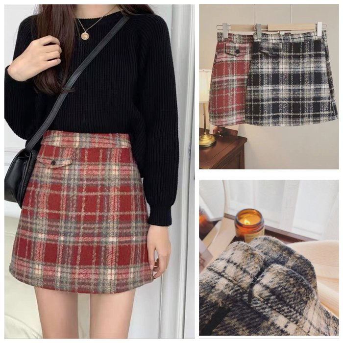 【2A Two】毛呢裙🍀蘇格蘭紋⌒A字褲裙 『BB00499』