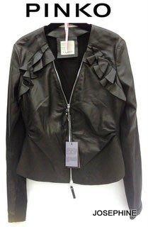 喬瑟芬【PINKO】現貨~2013春夏 黑色 荷葉小羊皮革+Cotton 雙材質拼接 夾克 外套(ITA38~44號)