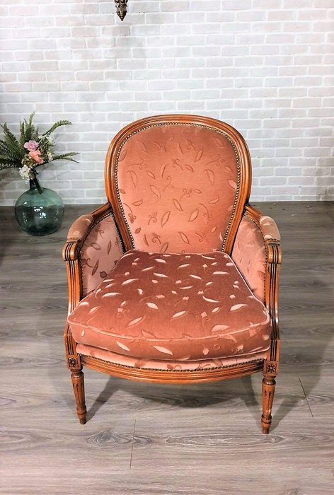 【卡卡頌  歐洲古董】法國老件~ 典雅  氣質  粉色絨  胡桃木雕刻  沙發  ch0331 ✬