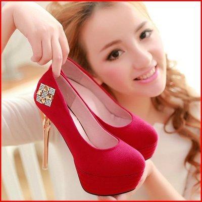 跟鞋*鞋館Shoes hall*【A11106】耀眼亮水鑽厚底細跟鞋~3色~(可訂做大尺碼)