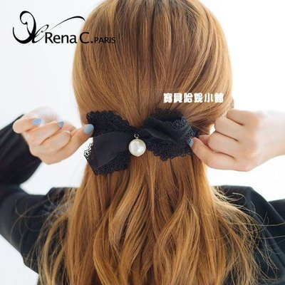 BHI1487-法國品牌RenaChris 韓國布藝珍珠蕾絲蝴蝶結髮夾 彈簧夾【韓國製】AngelRena