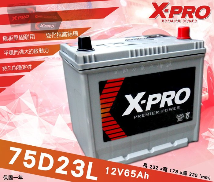 全動力-XPRO 日規車款 進口電池 75D23L (12V65Ah) 免加水 馬自達 三菱 Fortis 菱帥 M3