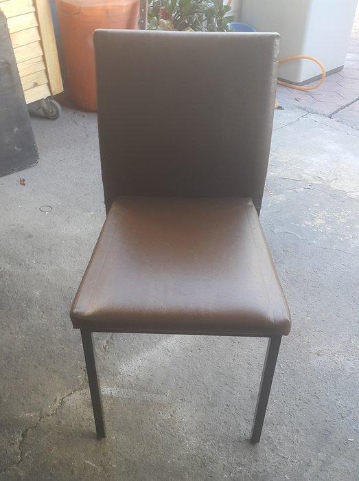 台中樂居二手家具 全新中古傢俱家電 F517EJJ 咖啡色皮面餐椅*洽談椅 電腦椅 書桌椅 會客椅 2手各式家具拍賣