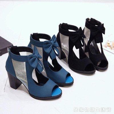 新款粗跟魚嘴涼鞋單鞋女蝴蝶結網紗高跟鞋女潮夏款女鞋子