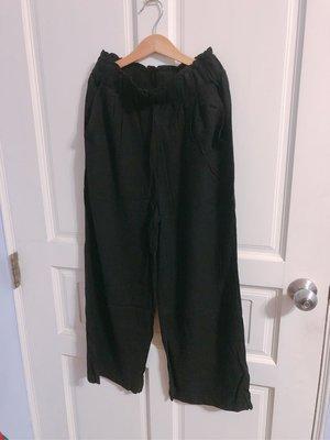 棉麻鬆緊腰寬褲 黑