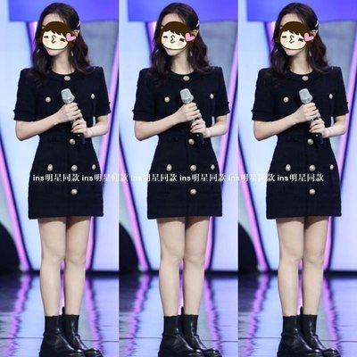 ins明星同款女裝快樂大本營楊蓉新款同款黑色紐扣裝飾收腰新修身短袖連身裙包臀迷你短裙OP60