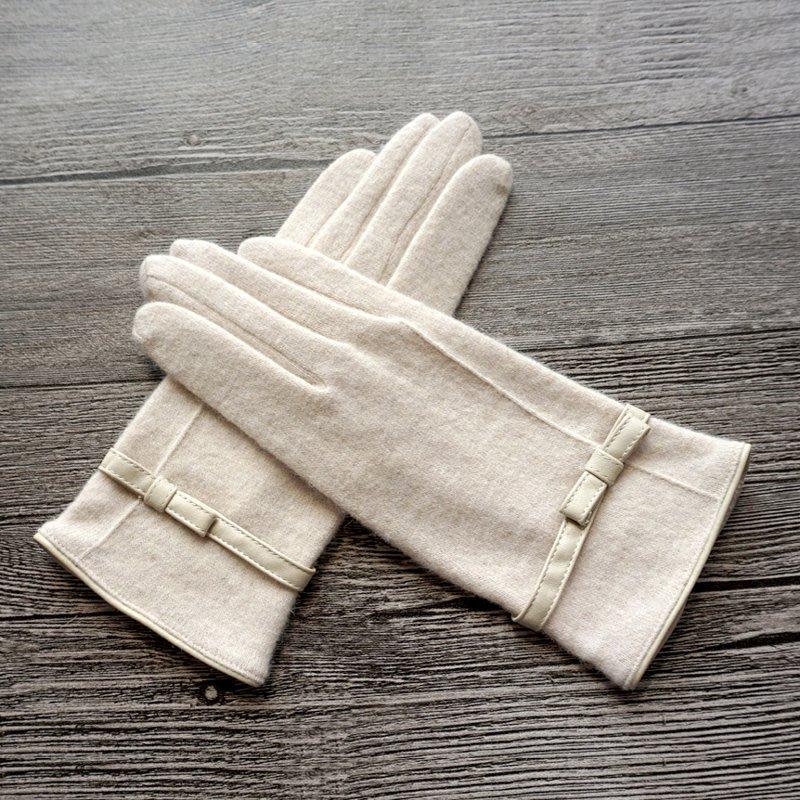 新品上市#秋冬新品女士羊毛pu蝴蝶結簡約戶外騎行保暖抗寒開車手套