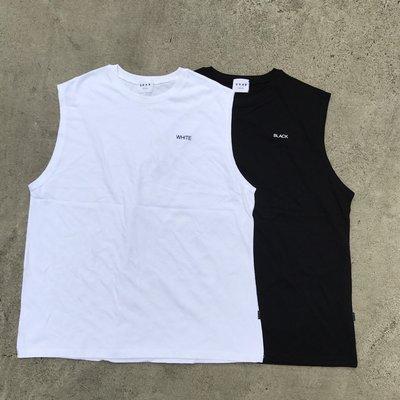 【inSAne】韓國購入 / 顏色字母 / 背心 / 單一尺寸 / 黑色 & 白色 & 深藍