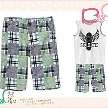 【B& G童裝】正品美國進口GYMBOREE Patchwork Print Short拼布藍綠色短褲6yrs