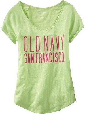 (BJGO)old Navy_女裝_Women's Cuffed Slub-Knit Trademark Tees 美國甜心大圓領T恤  (新品現貨)