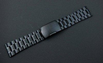 黑色PVD超值sea master海馬風格24mm平頭實心不鏽鋼製錶帶speed master,可替代各品牌同規格錶帶