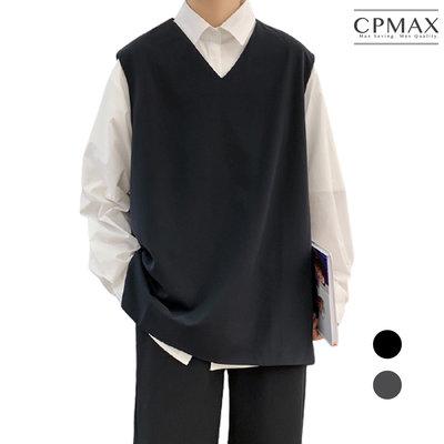 CPMAX 寬鬆套頭西裝背心 潮款韓風西裝背心 V領西裝馬甲 西裝背心 無袖背心外套 時尚百搭 西裝背心【VE21】