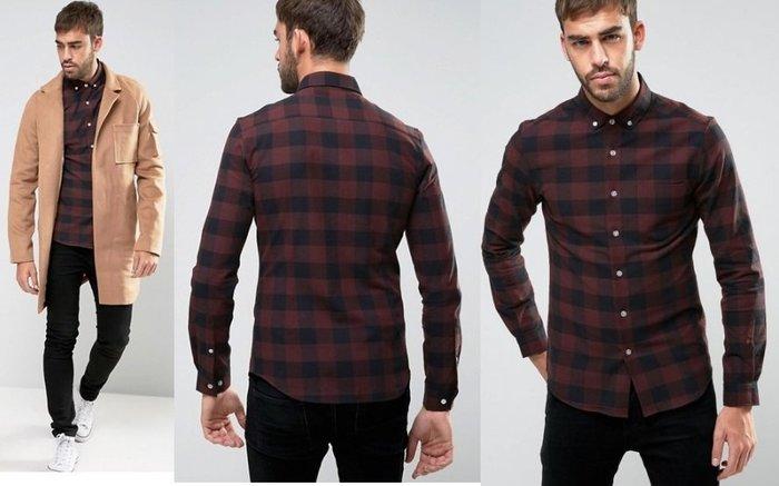 ◎美國代買◎ASOS紅黑格子層疊微合身剪裁復古英倫風格子長袖襯衫~歐美街風~大尺碼