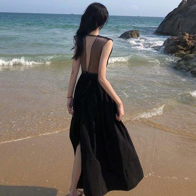 時尚女裙  港味氣質后背拼接沙灘長款裙子夏季新款復古v領高腰純色連衣裙女