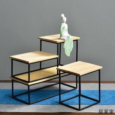花盆 花器 陶瓷擺飾 實脫脂松木質底座博古架花盆托盤個性創意鐵架方桌微景觀新品配件