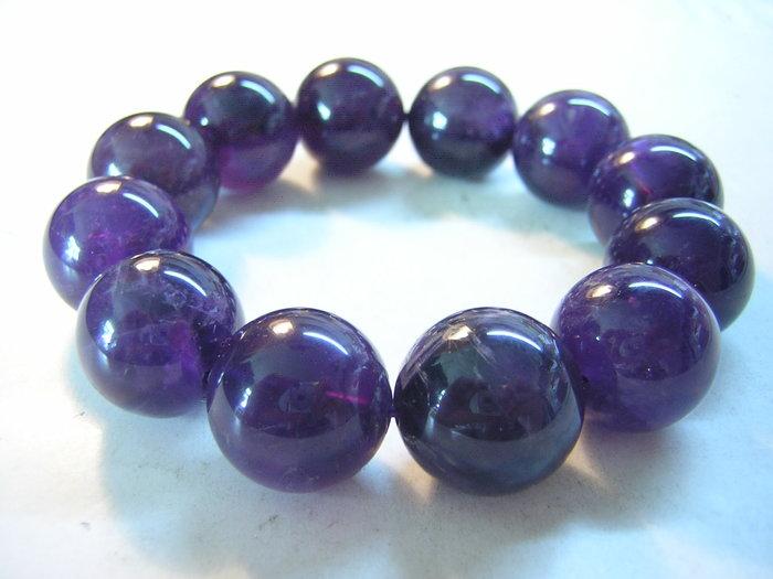 【采鑫坊】AAA級紫水晶手鍊~18mm《低起標.無底價》烏拉深紫~