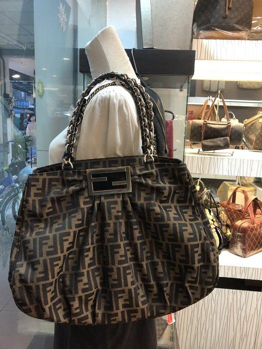 布蘭斯名牌館*高雄專櫃正品 FENDI 經典LOGO皮穿鍊三層包實品拍攝很新喔特價款