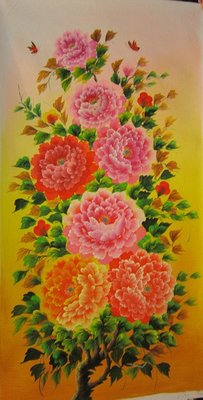 『府城畫廊-手繪油畫』牡丹花-花開富貴-60x120-(會繃內架,可吊掛,可加框)-有實體店面,請看關於我聯繫-D297