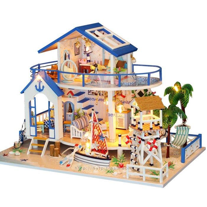 奇奇店-手工DIY小屋藍海傳說大型別墅拼裝模型玩具建筑成人情侶生日禮物(規格不同價格不同)