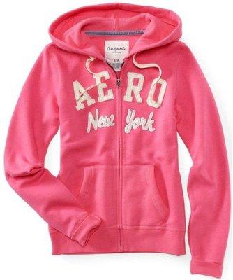 誠可議價《特價品》美國潮牌 Aeropostale 連帽 NEW YORK 風外套,粉紅色