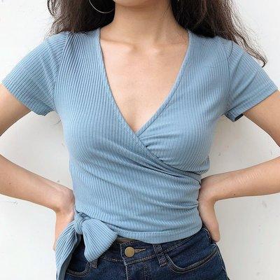 angel.小鋪 GO GIRL GO 設計感輕熟深V領螺紋側面下擺綁帶T恤衫女短款高腰短袖D2E6