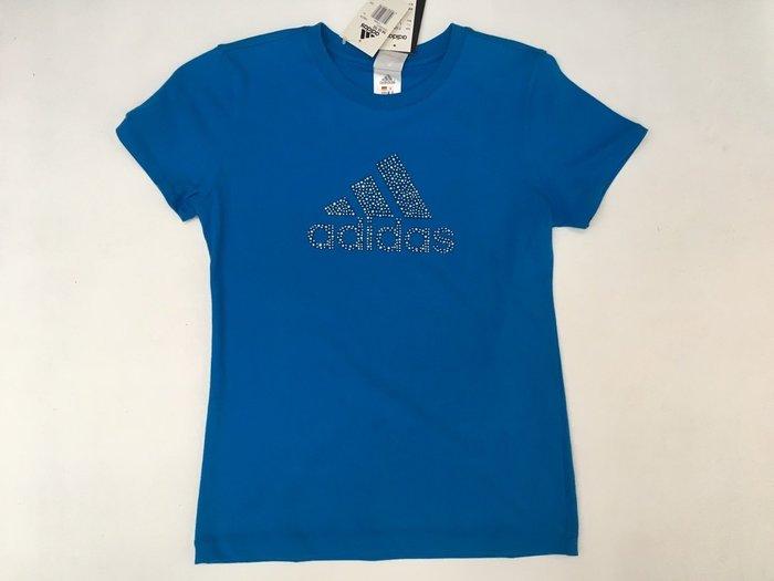 運動GO~ 愛迪達 ADIDAS 休閒 穿搭 棉T 藍 銀鑽 大LOGO 圓領 短袖 短T 健身 女 P88378