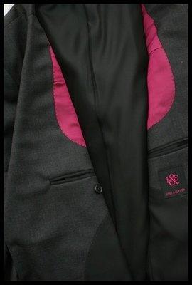 歐碼50英國經典男裝【KENT & CURWEN】K&C深鐵灰單排兩扣羊毛西裝上衣