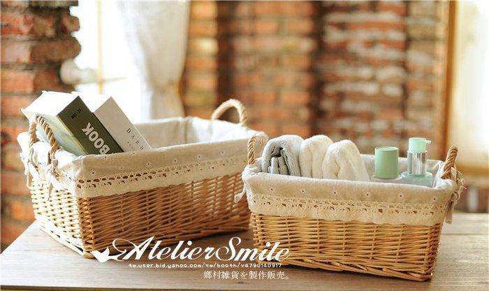 [ Atelier Smile ] 鄉村雜貨  手工藤編  把手收納籃 雜物籃 花籃 野餐籃 家居 # 小 (現+預)