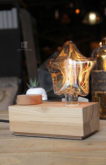 【曙muse】長方體轉盤木頭桌燈(獨立開關.可調光)裝飾 擺飾 氣氛燈 loft 工業風 咖啡廳 民宿 餐廳 住家 設計