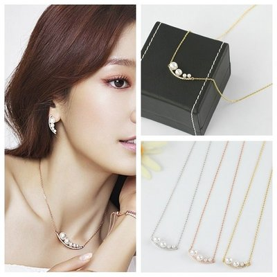 ☆~Candy Chi~ Shop~韓飾☆~韓國進口~Doctor's~~朴信惠~月彎型珍珠水鑽項鍊~預購
