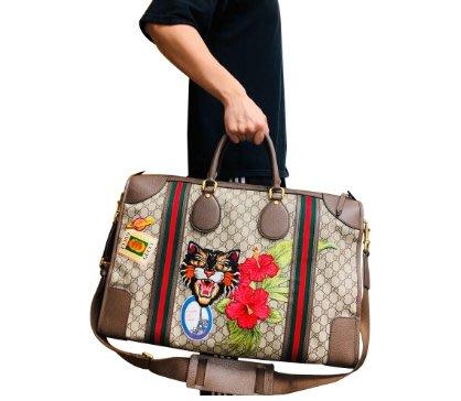 【台中米蘭站-逢甲店】GUCCI 古馳 限量款刺繡貼布徽章手提肩背二用行李袋 (459291-烏木色)