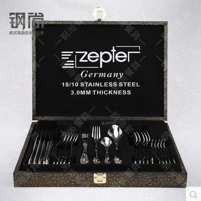 【優上】德國不銹鋼西餐餐具24件套裝刀叉勺三件磁牛扒刀叉套裝禮盒