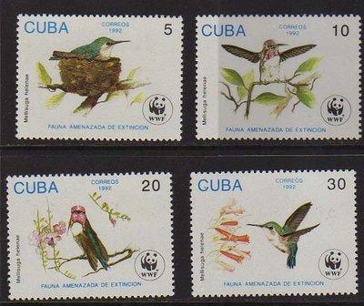 【雲品】古巴Cuba 1992 Sc 3428-3431 WWF set MNH