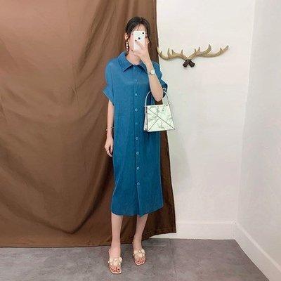 短袖洋 裝 連身 長裙-單排扣翻領純色百褶裙女裙子2色73yf36[獨家進口][米蘭精品]