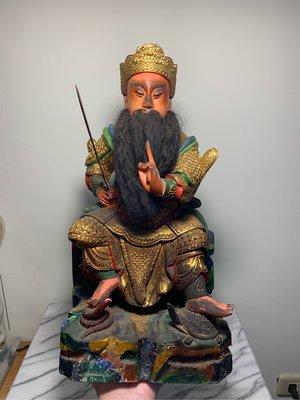 早期 樟木雕刻 玄天上帝 高1尺3 真武大帝 老神像