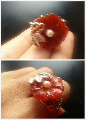 【山玉軒】韓國精品~空運來台【【頂級紅瑪瑙花朵】】戒指~下標即售