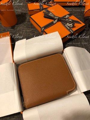 西雅圖的衣櫃全新真品Hermes愛馬仕Silk In Compact絲巾短夾/台北可以面交Gold焦糖色