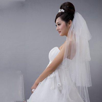 5Cgo 【鴿樓】會員優惠 13300218553 新娘婚紗 新款甜蜜韓版頭紗 婚紗禮服配件