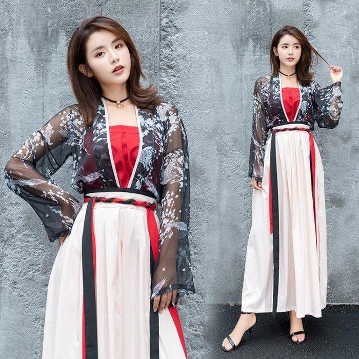 實拍傳統漢服日常改良女裝對襟襦裙齊腰仙鶴印花套裝