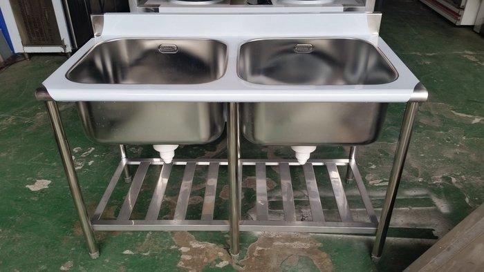 國際二手貨 家具回收-----全新 2孔水槽 4尺 2口水槽  深30  二口水槽 雙口水槽